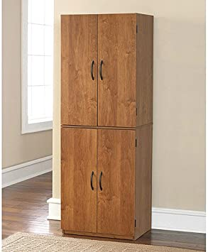 Tall Storage Cabinet With 4 Doors Pantry Cupboard Has Two Adjustable Shelves And One Fixed Shelf Guaranteed Kitchen Cabinets Store Cookbooks And Pantry Goods Use In Bedroom Or Dorm For Linens Towels