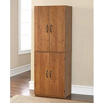 Tall Storage Cabinet with 4 Doors Pantry Cupboard Has Two Adjustable  Shelves and One Fixed Shelf. Guaranteed. Kitchen Cabinets Store Cookbooks  and ...