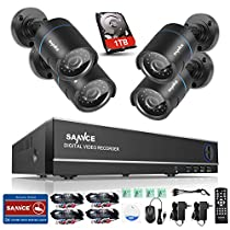 SANNCE Smart Security Camera System 8-Channel HD 1080N DVR and (4) 1.0MP Indoor/Outdoor Weatherproof Cameras with IR Night Vision LEDs- 1TB Surveillance Hard Disk Drive