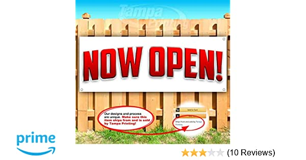 Many Sizes Available Flag, BAR /& Grill Now Open Extra Large 13 oz Heavy Duty Vinyl Banner Sign with Metal Grommets Store Advertising New
