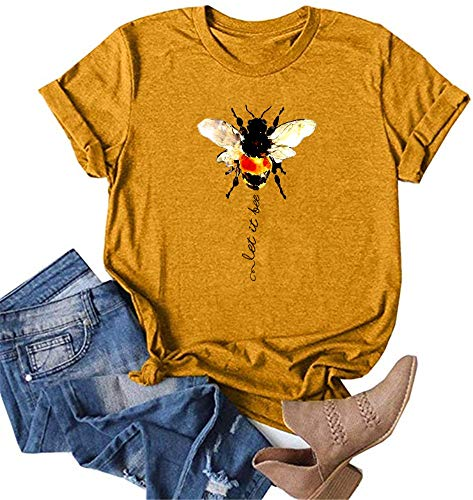 Wudia Women's Vintage Let It Bee Letter Print T Shirts Summer Short Sleeve Cute Bee Graphic Tees Tops (Grey, Medium)