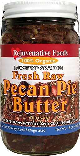 Almond Pecan Pie (Fresh Raw Organic Pecan Pie Butter Pure Rejuvenative Foods Low-Temp-Ground Candy-In-Glass Pecans-Dates-Almonds-Cinnamon-Cardamom-Nutmeg Vegan Treegan In-Glass Nutrition USDA-Certified-Organic-8 oz)