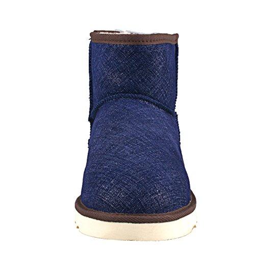 gamba corta Stivali Scarpe D4927 A Classico Caldo Invernali da neve Uomo Blu Shenduo pAqwC8z