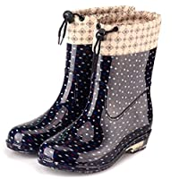 Womens Waterproof Rain Boots Rubber Festival Rain Mud Snow Ladies Fashion Wellington Wellies Non-Slip Tall Shoes Sizes