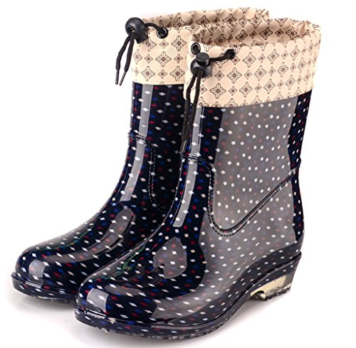 Lluvia Goma oras A Mujer Se Grandes De Impermeables Tallas EU37 Zapatos Nieve Moda Botas La para De Lluvia Wellies De Antideslizantes Fango Wellington Festival gwn780