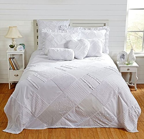 Better Trends / Pan Overseas 120 X 110 Inch Ruffled Chenille Patchwork Bedspread, King, White