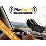 MasTrack OBD Real Time GPS Vehicle Tracker with 1 Year of Basic Live GPS Tracking Service
