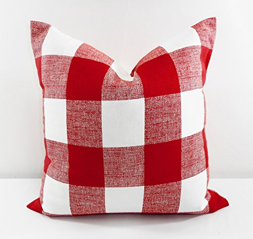 Red & white Buffalo check Pillow cover. Sham cover. Select size.