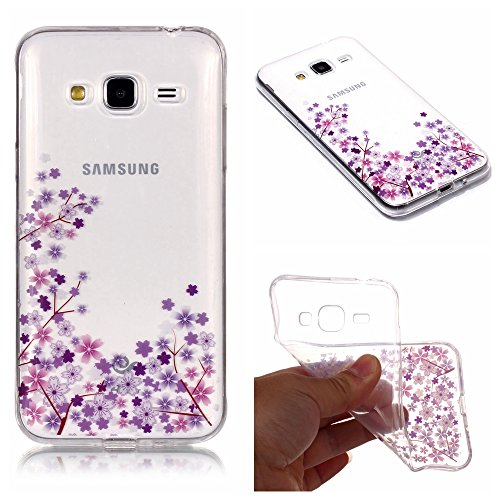Price comparison product image Stysen Galaxy J3 2015 / J3 2016 Crystal Clear Case, Galaxy J3 2015 / J3 2016 Transparent Cover, Creative Purple Flower Cover for Samsung Galaxy J3 2015 / J3 2016-Purple Flower