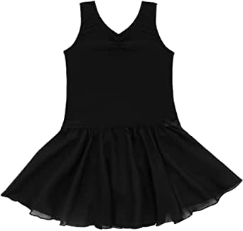 FEESHOW Girls' Gymnastic Leotard Dress Camisole Ballet Dance Ruffle Tutu Skirt