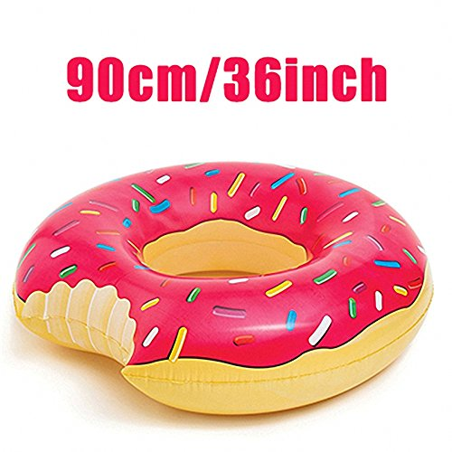Inflatabale Donut Swimming Ring 2 Colors Adult Swimming Circle Inflatable Mattress Giant Pool Float Toys Mat Beach Water Strawberry 90cm  90cm clocks   Midnight Sun – 90cm against the clock 51IY97YfnXL