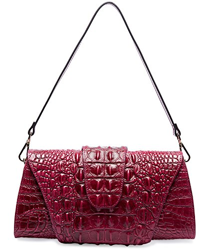 Pifuren Crocodile Pattern Leather Tote Clutch with Shoulder Strap Womens Purses M1112 (One Size, Purple) by PIFUREN