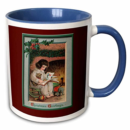 (3dRose BLN Vintage Christmas Designs - Christmas Greeting Little Girl Reading a Book in front of a Fireplace trimmed With Holly and Berries - 15oz Two-Tone Blue Mug (mug_153518_11))