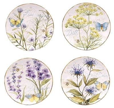 Certified International Herb Garden Salad/Dessert Plate, 8.75-Inch, Assorted Designs, Set of 4