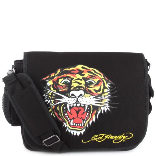 Ed Hardy Leo Tiger Messenger Bag -Black