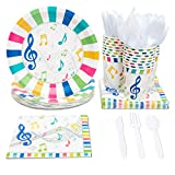 Juvale Music Party Supplies (Serves 24) Knives, Spoons, Forks, Paper Plates, Napkins, Cups