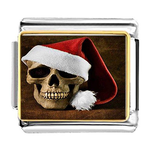 GiftJewelryShop Gold Plated Skull Wearing Christmas Hats Bracelet Link Photo Italian Charms