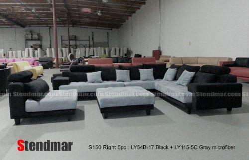 5pc Multifunction 2-tone Microfiber Big Sectional Sofa Set S150RBG