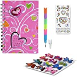 SMITCO Girls Diary Set - Pink Heart Journal Set for Kids 5 to 10 Years Old with Stickers and Pencil