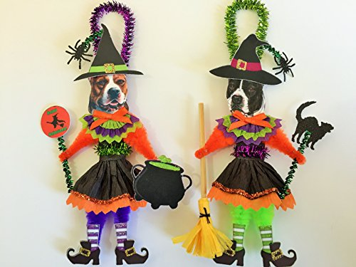 Pitbull Terrier HALLOWEEN WITCH ORNAMENTS Vintage Style Dog