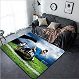 Vanfan Design Home Decorative Soccer players on the field Modern Non-Slip Doormats Carpet for Living Dining Room Bedroom Hallway Office Easy Clean Footcloth