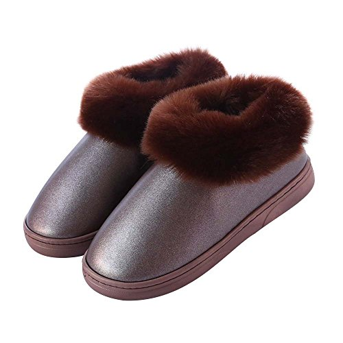 Eastlion Women's & Men's Winter Keep Warm Anti-Skid PU Waterproof Shoes Slippers Brown AdQwQ