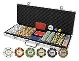 Da Vinci Monte Carlo Poker Club Set of 500 14 Gram 3-Tone Chips Aluminum Case, Cards, 2 Cut Cards, Dealer & Blind Buttons