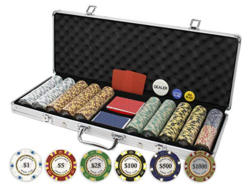 Gram Sets Poker Chips - Da Vinci Monte Carlo Poker Club Set of 500 14 Gram 3-Tone Chips Aluminum Case, Cards, 2 Cut Cards, Dealer & Blind Buttons
