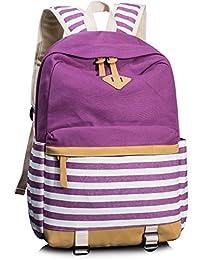Leaper Cute Navy Style School Backpack Striped Canvas Bookbag Casual Travel Rucksack Purple