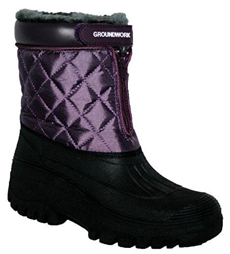 Botas de equitación para mujer, estables, impermeables morado