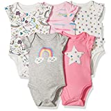 Rosie Pope Baby Girls' 5 Pack Bodysuit, Star/Unicorn, 3-6 Months