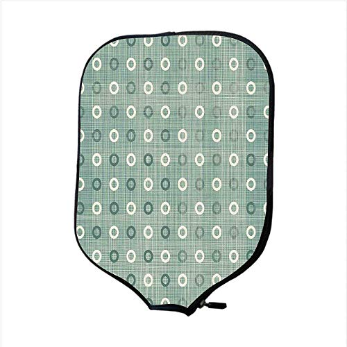 (VANKINE Neoprene Premium Pickleball Paddle Racket Cover Case,Polka Dots,Ring Form Circular Polka Dots Regular Old Fashioned Style Motif Vintage Pattern,Blue Cream,Fit for Most Rackets)