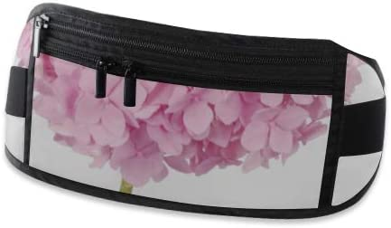 Travel Waist Pack,travel Pocket With Adjustable Belt Pink Flower Hydrangea On White Running Lumbar Pack For Travel Outdoor Sports Walking