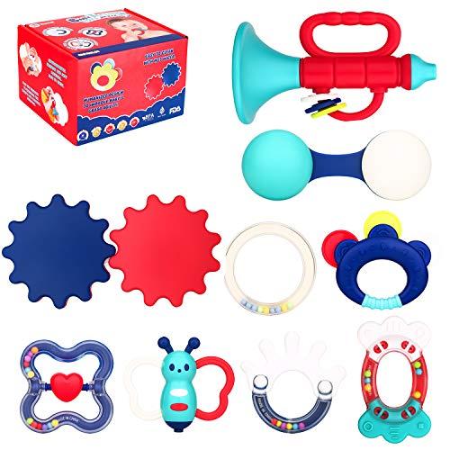 Biulotter 9 Pack Teether Rattle Set Baby Teething Toys Infant Training Toy Case