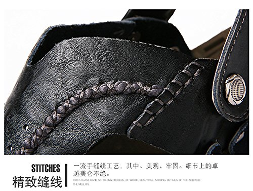 Das neue Männer Schuh Echtleder Sandalen Freizeit Strand Dualer Gebrauch Trend Männer Sandalen ,schwarz,US=6.5,UK=6,EU=39 1/3,CN=39