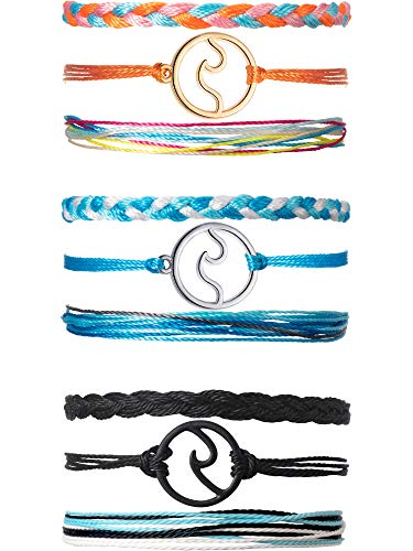 Chuangdi 3 Sets Wave Bracelet Braided Rope Bracelet
