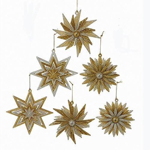 Kurt Adler Gold & Silver Snowflake Ornaments 198514