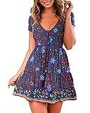 Halfword Women's Summer Wrap V Neck Bohemian Floral Print Ruffle Swing A Line Beach Mini Dress