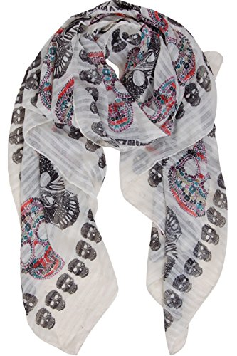 Humble Chic Sugar Skull Scarf - Long Oversized Lightweight Printed Shawl Wrap, Ivory, Off-White ()