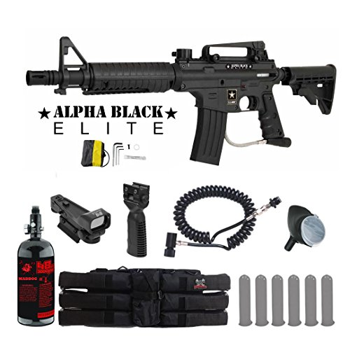 MAddog Tippmann US Army Alpha Black Elite Tactical HPA Red Dot Paintball Gun Package - Black