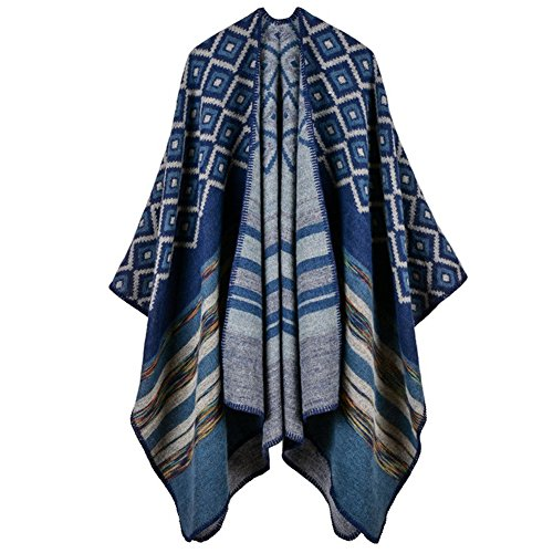 Cashmere Print Cardigan - Bodycon4U Women's Winter Knitted Cashmere Poncho Capes Shawl Cardigans Sweater Coat