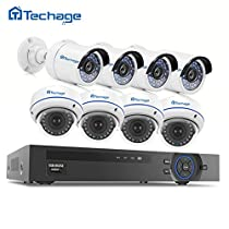 1080P PoE CCTV Security Camera System, Techage 4 Bullet Cam + 4 Dome Cam Home Surveillance Kit Without Hard Drive, 48V Indoor&Outdoor Waterproof IP Cameras