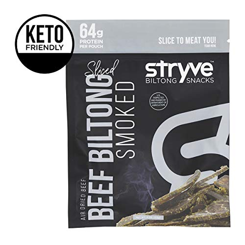 Stryve Biltong | Healthy Keto & Paleo Friendly Air-Dried Beef Snacks | 50% More Protein Than Beef Jerky, Gluten Free, Low Carb, Sugar Free, No Nitrates, No Preservatives, No MSG | Smoked, 4oz