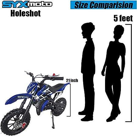Pull Start SYX MOTO Kids Mini Dirt Bike Gas Power 2-Stroke 50cc Motorcycle Holeshot Off Road Motorcycle Holeshot Pit Bike Blue