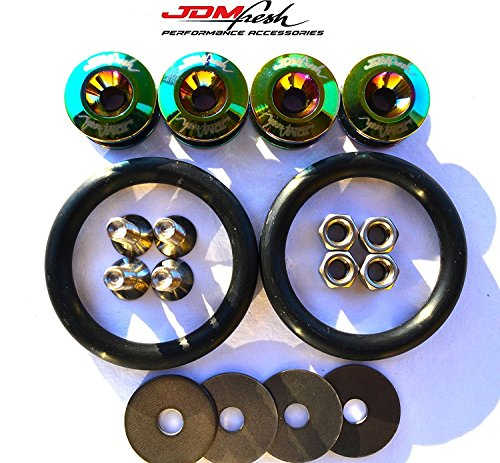 JDMFresh - Quick Release Fasteners For Car Bumpers Trunk Fender Hatch Lids Kit ... (Neo - Neo Chrome Track