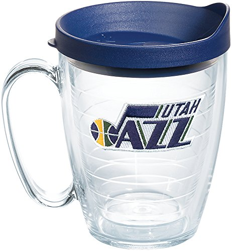 (Tervis 1235551 NBA Utah Jazz Primary Logo Tumbler with Emblem and Navy Lid 16oz Mug, Clear)
