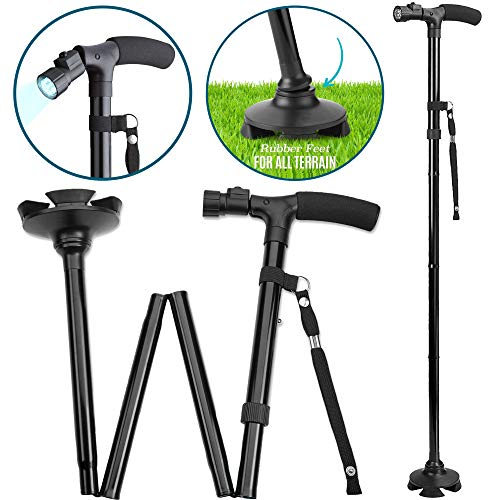 Folding Cane with Led Light - Adjustable Walking Sticks LED Light to Get Around Easier in The Dark, Collapsible Canes with Rubber Feetfor Men and Women