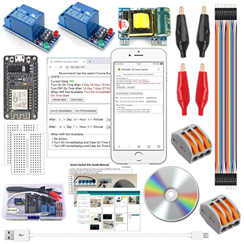 ESP8266 Smart Switch Kits Wireless Wifi Remote Control Smart Home Socket Outlet Plug with 2-Pcs 1 Channel Relay Module 110-240V to 5V Converter for Arduino IDE IoT Starter(Guidance Document Included) ()