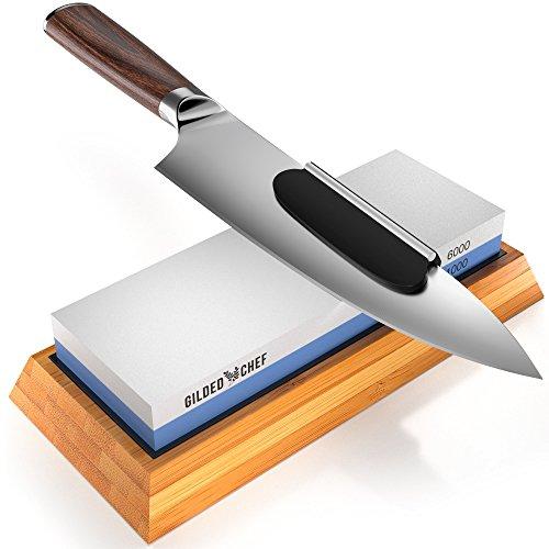 - Gilded Chef - Knife Sharpening Stone and Premium Whetstone Sharpener Set - 1000/6000 Grit Waterstone Kit - Sharp Steel Knives are Safer - Best for Expensive Kitchen, Japanese Sushi, Butcher Knives