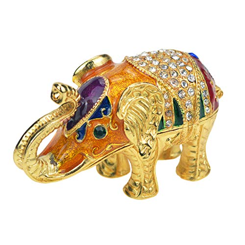 QIFU-Hand Painted Enameled Small Elephant Decorative Hinged Jewelry Trinket Box Unique Gift for Home - Animal Handmade Jewelry